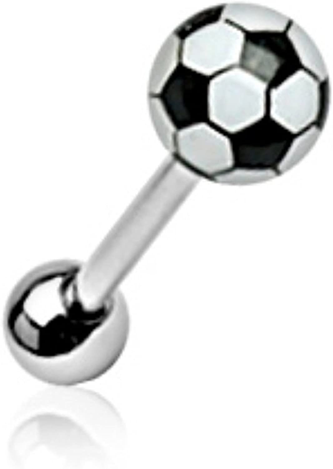Covet Jewelry Soccer Ball 316L Surgical Steel Barbell