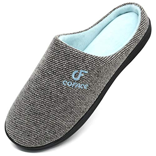 COFACE Men's Memory Foam House Slippers Anti Skid Cozy Knitted Winter Slippers Closed Toe House Shoes for Men Clogs Mules Warm Fleece Lining Slip On Bedroom Slippers Indoor Outdoor Size 7-14