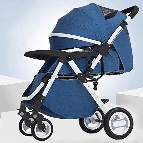 LOXZJYG Cochecito de Cochecito Cochecito Cochecito Plegable, Compacto Convertible Cochecitos para bebés, Cesta de Almacenamiento, área de Asiento Grande para Viajar, Comprar, Caminar (Color : Azul)