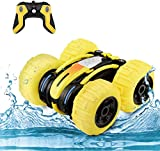 WomToy Waterproof Stunt RC Car,4WD Amphibious Remote Control Car Boat Double Sided Driving On Water...