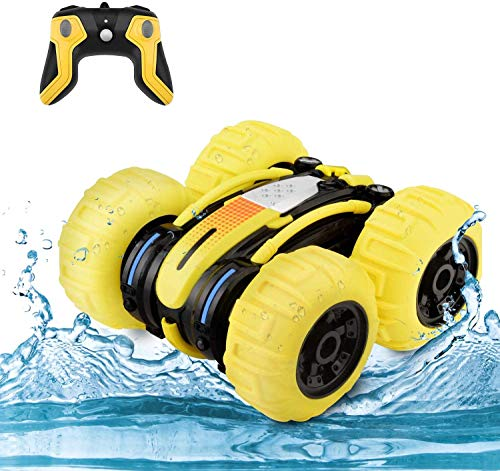 WomToy Waterproof Stunt RC Car,4WD Amphibious Remote Control Car Boat Double Sided Driving On Water & Land Electric Stunt Car for Kids with 360