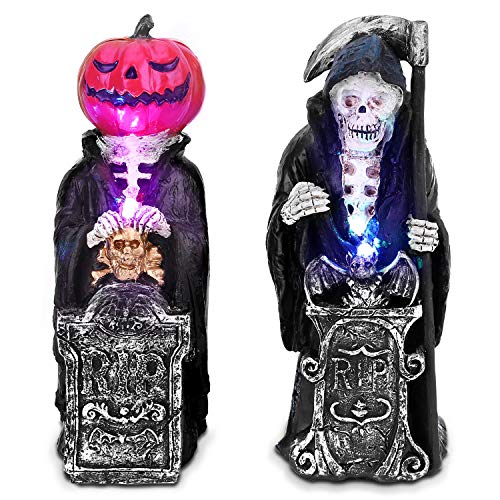 OUSFOT Halloween Decorazione Teschio Lampada da Tavolo per Halloween Party casa 2 Pezzi