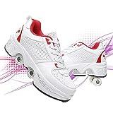 Dytxe Patines de ruedas para niños Deformación al aire libre Parkour zapatos multiusos ajustable deformación invisible cuatro rondas de zapatillas de correr para jóvenes y adultos, blanco + rojo, 37