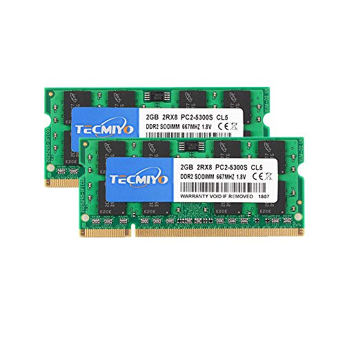 TECMIYO 4GB Kit (2x2GB) PC2 5300s DDR2 667MHz 2RX8 Dual Rank PC2-5300 DDR2-667 1,8V 200pin Sdram Sodimm Non-ECC Ungepuffertes SODIMM Laptop-Speicher-Ram-Modul