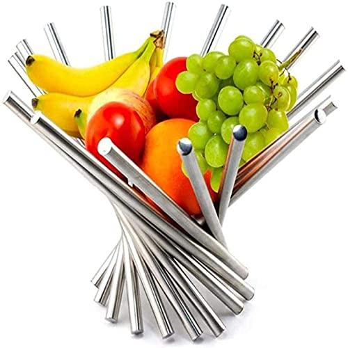 KJWXSGMM Cesta De Frutas De Acero Inoxidable, Tazón De Fruta Creativa Giratoria Portátil para La Cocina De La Cocina Tabla De Comedor para El Soporte De Fruta Cromada con Gran Capacidad,Large