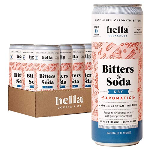 Hella Cocktail Co. Dry Aromatic Bitters & Soda - 12oz Cans (Case of 12) - Ready to Drink or Use as Cocktail Mixer - Zero Sugar, All Natural Ingredients, Made with Gentian Tincture