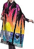 Vista al mar Caribe con palmeras Bufandas de abrigo de mantón de cachemira suave y cálida Bufandas largas para mujeres Empleadas de oficina Viajes