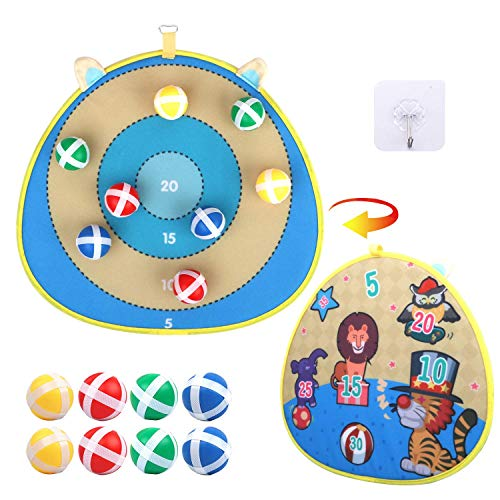 Kids Dart Board Game Sets - Double Sided Fabric Dart Board with 8 Sticky Balls | Excellent Indoor and Party Safe (Zoo)