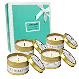 LA BELLEFÉE Scented Candles, Natural Soy Wax Travel Tin, Aromatherapy Candles Gift Set for Wedding, Festival - Lemongrass Bergamot, Sea Salt Sage, French Lavender Vanilla, Mediterranean Amber - 4 Pack
