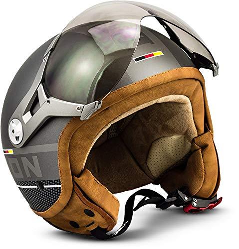 "Soxon® SP-325 Plus ""Titanium"" · Jet-Helm · Motorrad-Helm Roller-Helm Scooter-Helm Moped Mofa-Helm Chopper Retro Vespa Vintage Pilot Biker Helmet · ECE 22.05 Visier Schnellverschluss Tasche L (59-60cm)"