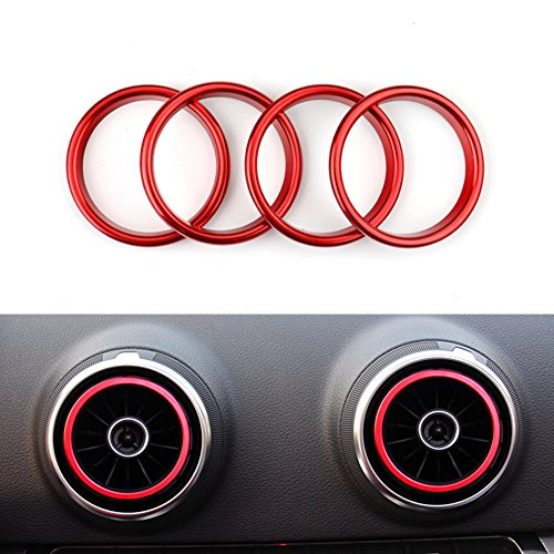 Air Vent Outlet Decoration Ring Air Condition Vent Cover Stickers for 2013-2016 A3/S3 (Aluminium Alloy 4pcs/Set red Color)