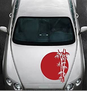 In-Style Decals Vehicle Auto Car Décor Vinyl Decal Art Sticker Rising Sun and Bamboo Tree Removable Design for Hood 1059