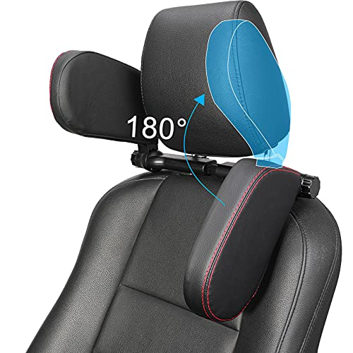 [Upgraded] Car Headrest Pillow, Buluby Neck Rest Support for Kids Side Wing Pillow, 180 Degree Adjustable Preventing a Sprained Neck While Sleeping(Black, Large)