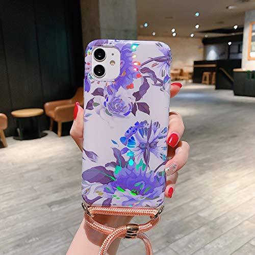 Dmtrab para Funda Protectora de TPU Suave de patrón láser con Correa para el Hombro para iPhone 11 (Color : White Background Blue Flower)