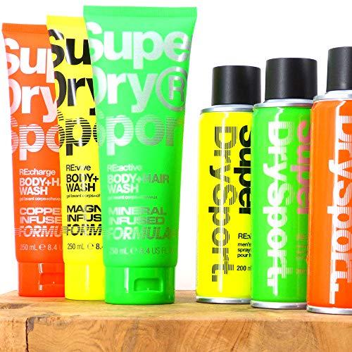 (100ml|3,47) 7tlg. Set von SuperDry Sport Männer Deospray Deodorant Body Spray & 2in1 Duschgel & Shampoo RE:charge | RE:vive | RE:active + Dustbag von STUDIO.MUNET