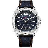 LLM Relojes de cuarzo de los hombres Correa de cuero estilo de negocios impermeable ultra delgado relojes (C)