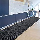 Floordirekt Küchenläufer Granada | Teppich-Läufer auf Maß für die Küche | Breite: 80 cm, viele Farben | Moderne & hochwertige Wohnteppiche (Anthrazit, 80 x 300 cm)