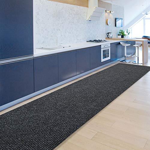Floordirekt Küchenläufer Granada | Teppich-Läufer auf Maß für die Küche | Breite: 80 cm, viele Farben | Moderne & hochwertige Wohnteppiche (Anthrazit, 80 x 250 cm)