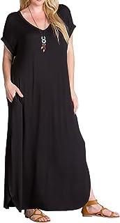5294a4f2daa Women s Plus Size Maxi Dresses Short Sleeve Casual Summer Plain Tie Dye  Split Long Dress with