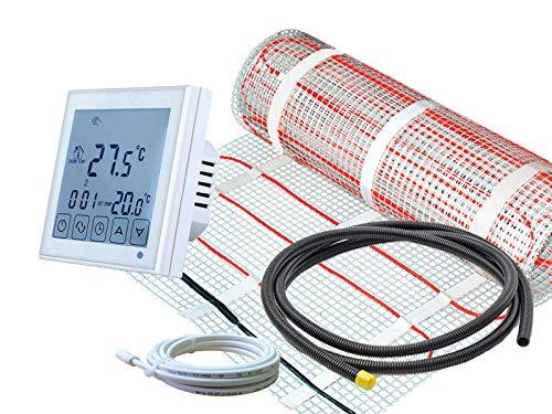 Komplett-Set elektrische Fußbodenheizung SunPro 160 W/m² mit digitalem Thermostat RT-60 Wlan (7 m² - 0,5 x 14 m)
