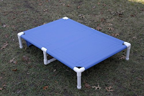 Dianes K9 Creations Inc. X Large Dog Bed Cot with Middle Support, Large Pet Bed, Dogs Up to 160 Pounds Size 38'x55'x10' Waterproof Blue Canvas Cot Bed.