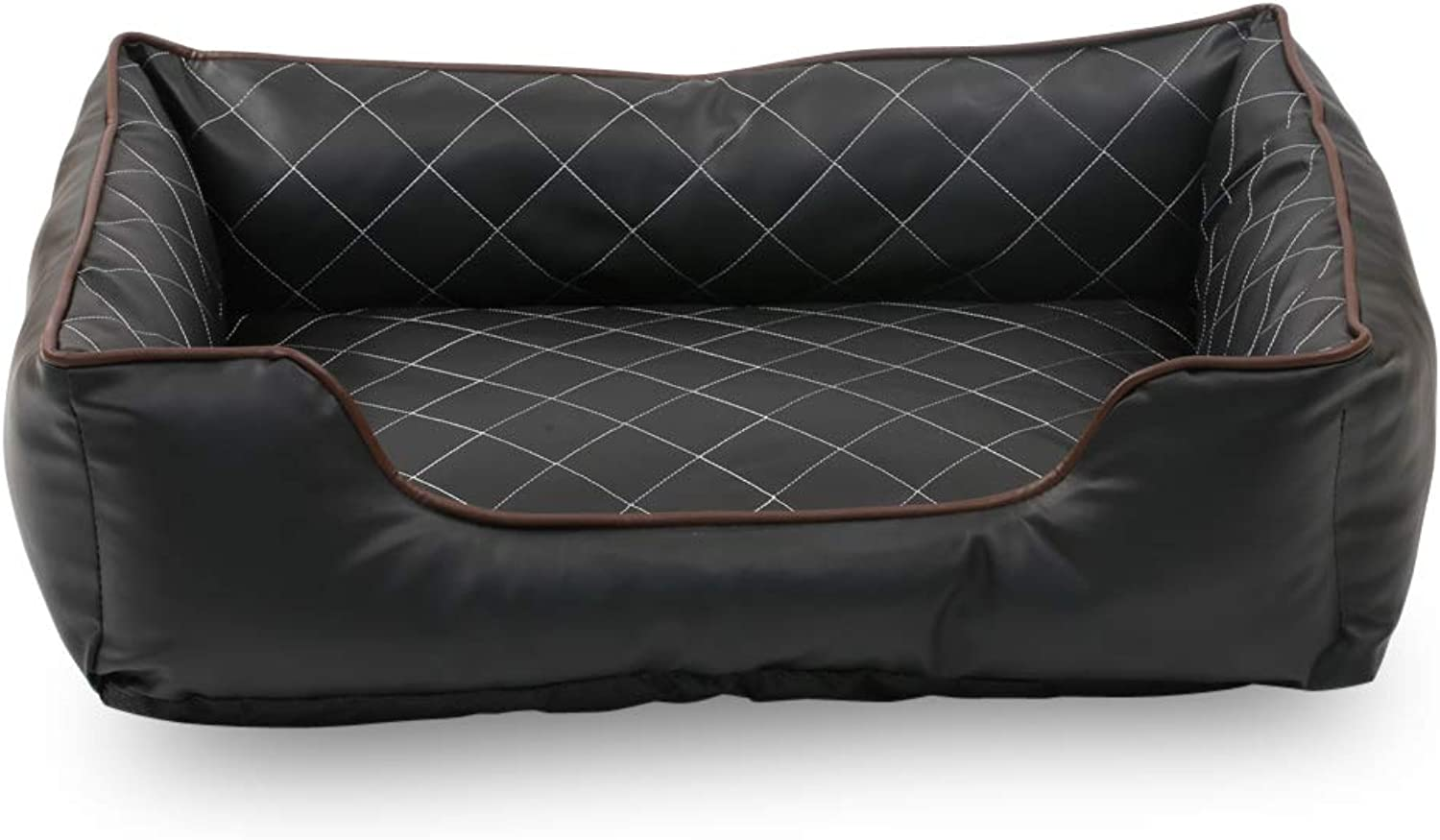 Long Rich Luxury All Sides Faux Leather Rectangle Pet Bed, by Happycare Texties