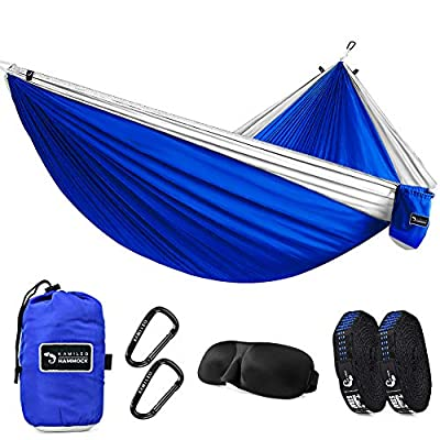Kamileo Camping Hammock, Double Parachute Hammocks with 3D Sleep Mask for Hiking, Travel, Backpacking, Beach, Yard Gear Includes Nylon Straps & Steel Carabiners 500lb for Sitting & Hanging