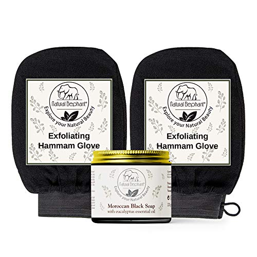 Natural Elephant Moroccan Black Soap 200g (7oz) and 2 Pack Exfoliating Hammam Glove Combo (Pure Black)