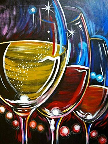 Wine Glass Diamond Painting Kit - CooolPlus 5D Full Round Diamond Painting by Numbers Crystal Rhinestones Diamond Painting Kits Arts Crafts Kitchen Wall Decor Gift for Adults, Kid (30 x 40 cm)