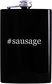 #sausage - 8oz Hashtag Hip Alcohol Drinking Flask, Black