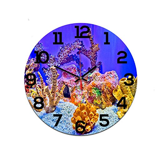 LUOYLYM Coral Fish Reloj De Pared Decorativo Reloj De Acrílico Movimiento Silencioso Reloj Nórdico Reloj Artesanal P190430-23 28CM