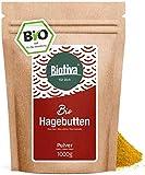 BIO Hagebuttenpulver - 1kg, Rohkostqualität - 100 Prozent BIO, Pulver aus ganzen Hagebutten gemahlen, Großpackung mit Preisvorteil - Gemahlen, abgefüllt und kontrolliert in Deutschland (DE-ÖKO-005)