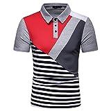 T-Shirt pour Homme Polo été Nouvelle Mode décontractée Rayures contrastées pour Hommes Revers Mince t-Shirt à Manches Courtes Chemise pour Hommes Gilet sans Manches Gilet pour Hommes Polo M