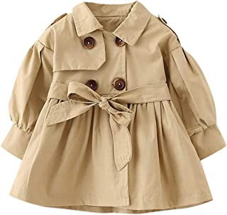 1-5T Toddler Infant Baby Boys Girls Double Breasted Trench Coat,Casual Button-up Jacket Outerwear Dress Belt Outfits