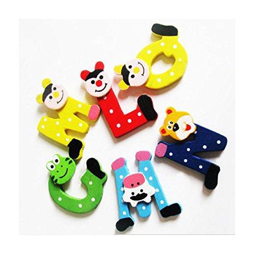 Alphabet puzzle jouet,Kolylong 26pcs en bois dessin animé alphabet A-Z aimants enfant jouet éducatif