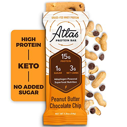 Atlas Bar - Keto Protein Bars, Peanut Butter Chocolate Chip - High Protein, Low Sugar, Low Carb, Grass Fed Whey, Healthy Protein, Gluten Free, Soy Free (10-pack)