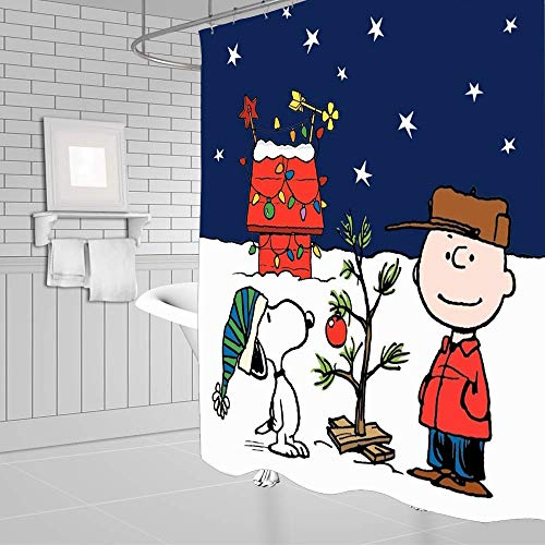 Snoopy Christmas Shower Curtain Kids Cartoon Waterproof Fabric Bathroom Curtain with 12 Hooks 60x72 Inch