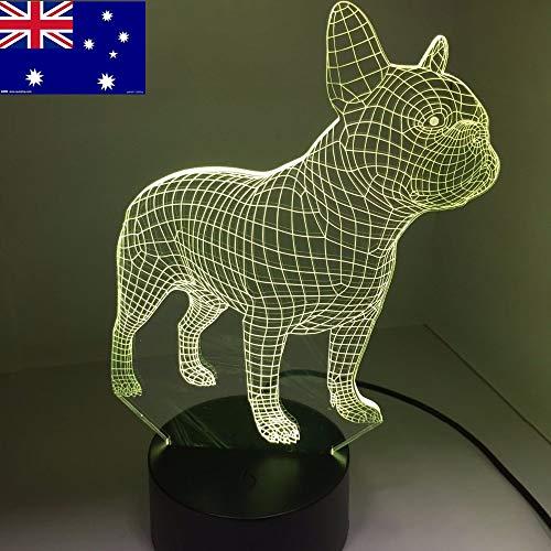 Frankreich Hund Baby Bewegung Nachtlicht 3D LED Tischlampe Kinder Geburtstagsgeschenk Nachtzimmer Dekoration