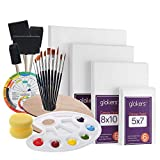 Glokers Canvas Panels Painting Kit   Art Supplies Set Includes Paint Palette, Sponge Brushes, Canvases, Paintbrushes & Mixing Wheel   Warp-Free Painting Canvas Great for Acrylic, Oil & Watercolor