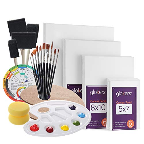 Mini Canvas and Easel Paintbrushes and Palette for Kids Artists Art Party Acrylic Paint Cridoz 47 Pieces Mini Canvas Painting Set Includes 4x4 Inches Primed Canvas Mini Easel