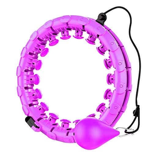 Smart Hula Hoop für Erwachsene und Kinder, 2-in-1-Bauch Fitness Fitness Gewichtsverlust Massage Nicht-Fall Hoola Hoops, 24 abnehmbare Knoten verstellbare Gewicht Auto-Spinning Ball (Lila)