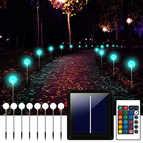 Solar Lights Outdoor Decorative,8 Pack Solar Color Changing Light with Remote Stainless Stake Waterproof, LED Landscape Lighting Solar Powered Garden Lights for Pathway Walkway Patio Yard Lawn