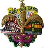 CopperFancy LLC New Orleans Christmas Tree Ornament Favor French Quarter Fleur de Lis Gift NOLA Exchange Keepsake Travel Wedding Favor Bridesmaids Louisiana Souvenir Decoration w/Pouch