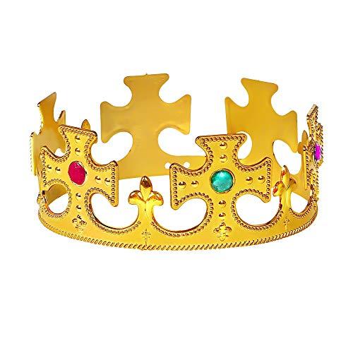 Widmann 45501 Königskrone mit Edelsteinen, Unisex– Erwachsene, Gold