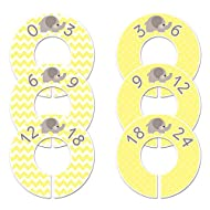 C41 Baby Nursery Closet Clothing Size Dividers Gender Neutral Elephant Yellow Set of 6