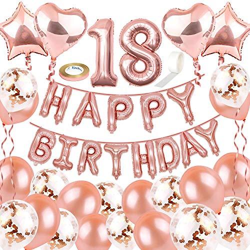 NOCHME Geburtstagsdeko Rosegold 18 für Mädchen, 41 Stück Geburtstag Deko Set,Happy Birthday Folienballon Girlande,10 Konfetti Luftballons und 10 Latex Balloon,Kindergeburtstag Dekoration für Frauen