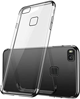 Fantasydao Case for Huawei P9 Lite 2017 Clear Soft TPU Plating Anti-Scratch Shockproof Ultra-Thin Silicone 360° Bumper Phone Case Accessories Cover Full Body Protective Shell(Black)