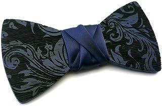 GIGETTO Papillon in legno Serie Pattern Nodo raso blu Made in Italy