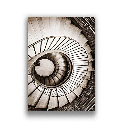 Escalera de caracol nórdica cartel de arte de pared lienzo pintura decoración del hogar imagen lienzo impresión-20x28 pulgadas x3 piezas sin marco