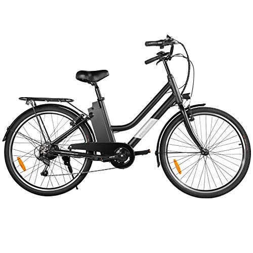 Macwheel 26' Electric Bike, 250W Brushless Motor, Removable 36V/10Ah Lithium-ion Battery, Shimano 6-Speed Gear, City Electric Commuter Bicycle for Adults (LNE-26)